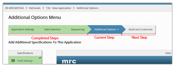 m-Power's build process navigation bar guides users through the build process