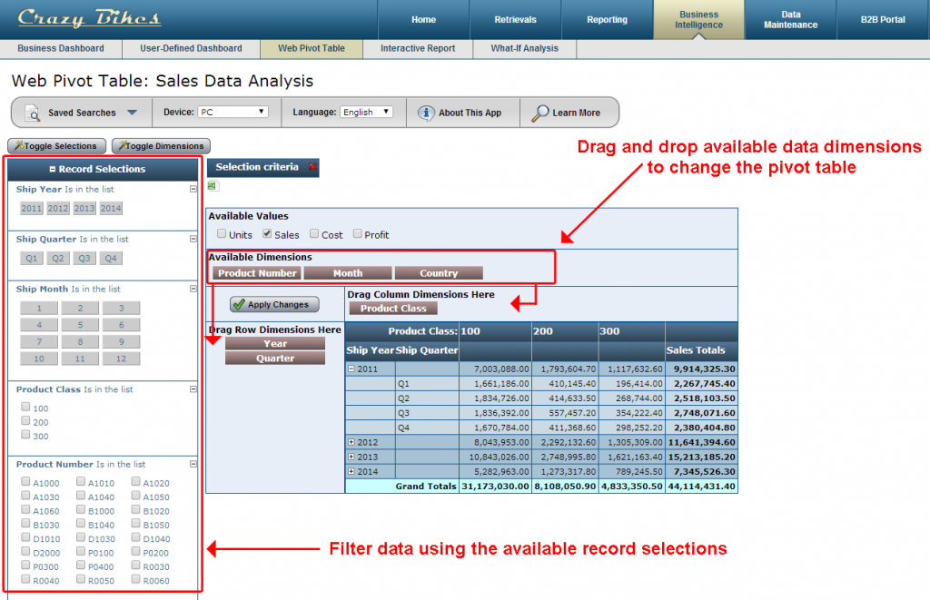 The web based pivot table offers a variety of sorting/filtering options.