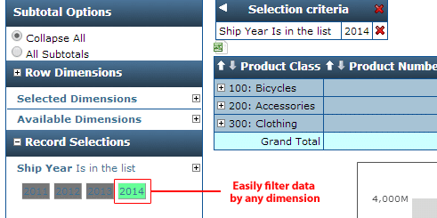 Filter data by any criteria